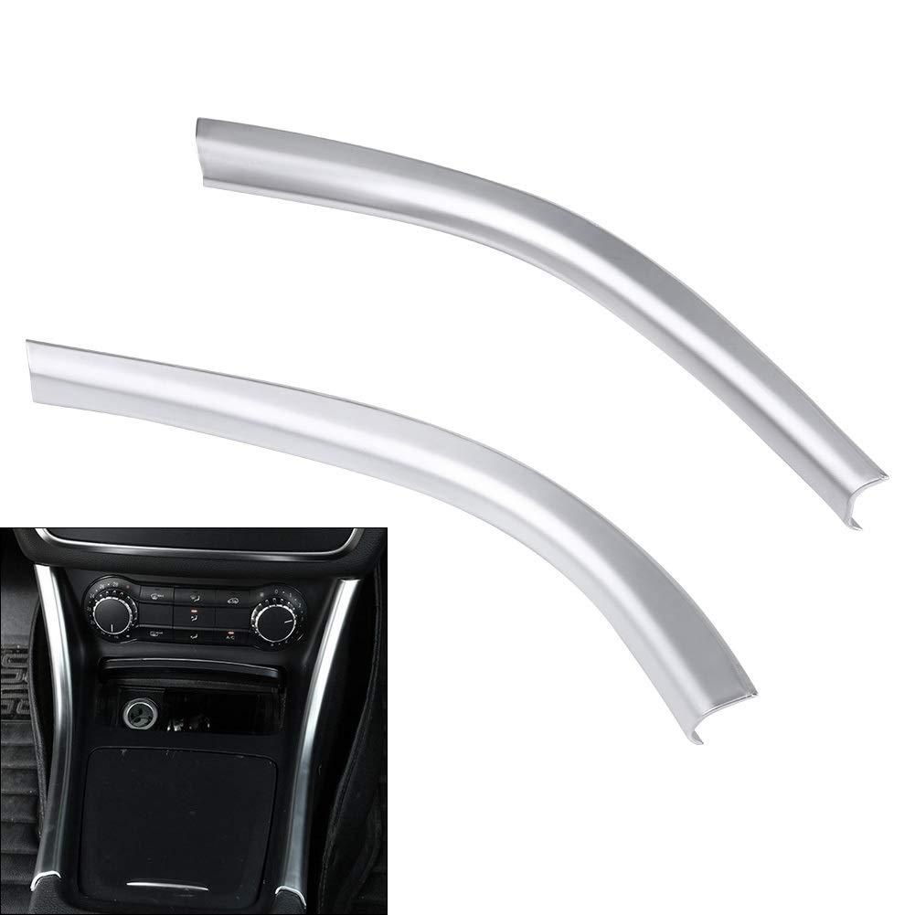 Dibiao One Pair Silver Car Center Central Control Side Trims Decorative Sticker for Auto Mercedes A W176 CLA C117 GLA X156