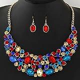 Malltop Women Jewelry Statement Rhinestones Pendant Bib Chain Choker Necklace Earrings Set (Oval Shap, Multicolor)