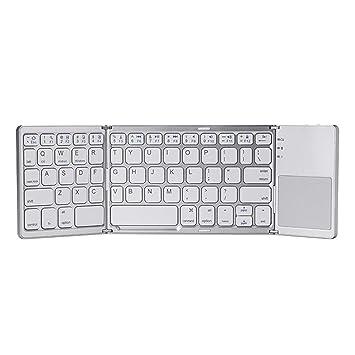 OmkuwlQ Mini teclado de carga USB con Bluetooth, teclado táctil, inalámbrico, plegable, delgado, teclado para PC, tableta y ordenador portátil: Amazon.es: ...