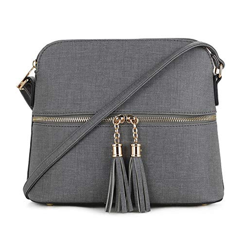 SG SUGU Lightweight Medium Dome Crossbody Bag with Tassel | Denim Inspired Texture PU Leather | Dark Gray