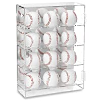Ikee Design Acrylic Mountable Baseballs Display Case Cabinet Wall Rack Holder, Acrylic Display Rack Case Organizer Storage for 12 Baseballs