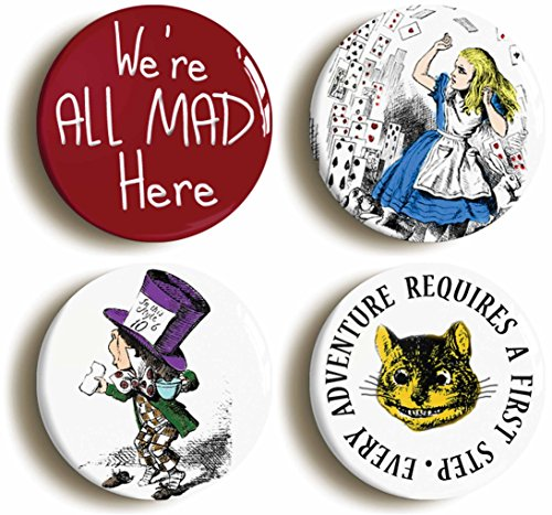 Alice in Wonderland Button Pin Set (Size of each pin is 1inch diameter) Mad Hatter Cheshire Cat Lewis (Cat On Alice And Wonderland)