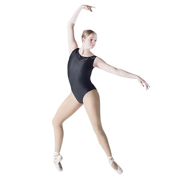 1696227033 HDW DANCE Ballet Leotard Yoga Gymnastics Sleeveless Lace Dance Bodysuit  Dancewear (S