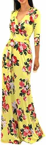 070b00953a Vivicastle Women s USA Printed V-Neck 3 4 Sleeve Faux Wrap Waist Tie Long
