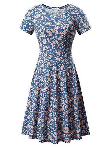HUHOT Women Short Sleeve Round Neck Summer Casual Flared Midi Dress (Medium, Floral-32) - Knit Denim Stretch Dress