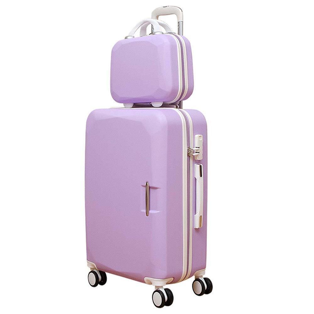 スーツケース キャリング回転軽量TSAロックトロリーケースコラム荷物サイレントローテーター多方向航空機 週末にスーツケースを運ぶ (色 : 紫の, サイズ : 24in+14in) B07SX6XSX9
