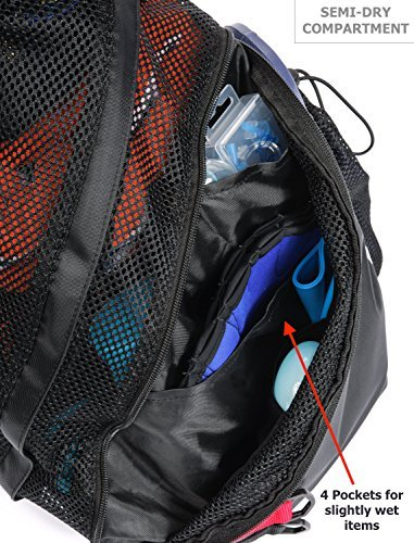 Pardao Aerify Mesh Swim Bag – Swimming Pool & Wet Clothes Backpack – Perfect Gift for a Swimmer – Sports Workout Gym Bag for Men and Women – Small (Black)