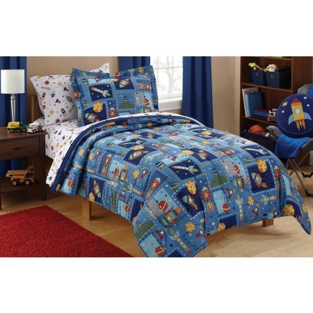 Mainstays Kids Space Bed in a Bag Bedding Set, Comforter, Flat and Fitted Sheets, Pillowcase(s) and Sham(s), TWIN (Space Twin Comforter)