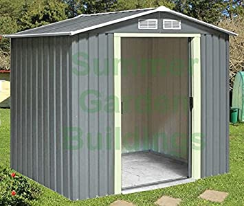 metal shed garden storage apex roof double door galvanized steel size