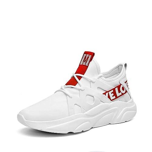 Zapatillas Deportivas para Hombre Zapatillas De Deporte Transpirables, Blancas, Negras Y con Cordones Zapatos Ligeros para Correr Zapatos Casuales De ...