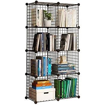kousi storage cubes wire grid modular metal cubbies organizer bookcases and book. Black Bedroom Furniture Sets. Home Design Ideas