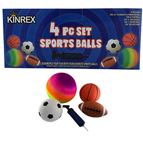 KINREX 4 Sports Ball Set with a Deluxe Pump - 8.5'' Rainbow Playground Ball - 6'' Football - 5'' Soccerball and 5'' Basketball - Sports Balls for Kids by KINREX