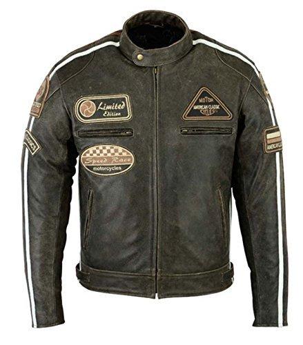 da da giacca XL marrone stile stile uomo Bosmoto retro motociclista trapuntata taglia in giacca Nappa da pelle qxn6BnT08w