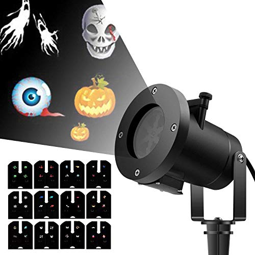 ingleby Holiday Led Projector Christmas Decoration Moving Lights 12 Pattern Replaceable Slides Indoor and Outdoor Garden Waterproof Lawn Lamp (Black) -