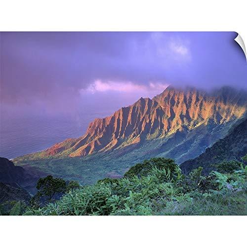 Art Print Greg Stocks - CANVAS ON DEMAND Hawaii, Kauai, Na Pali Coast, Kalalau Valley, Ka'a'alahina Ridge Wall Peel Art Print, 40