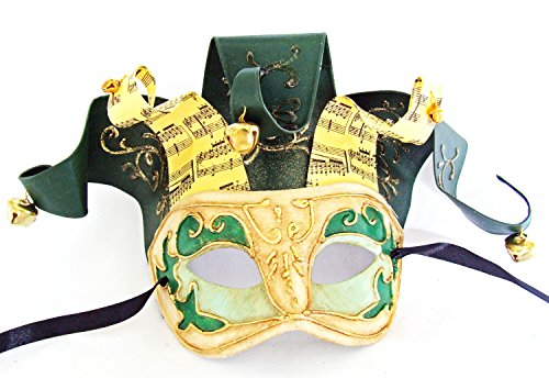 (Jolly Jester Green Mardi Gras Mask Venetian Ribbon Halloween Costume)