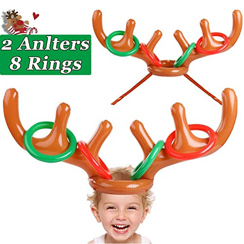 2 Pack Inflatable Reindeer Antler Hat Ring Toss Game Christmas Party Games Favors Kids Adult Ring Ross Outdoor Carnival Games Xmas Party Decor Family Game Classroom Indoor(2 Antlers & 8 Rings) (Class Games Parties Christmas For)
