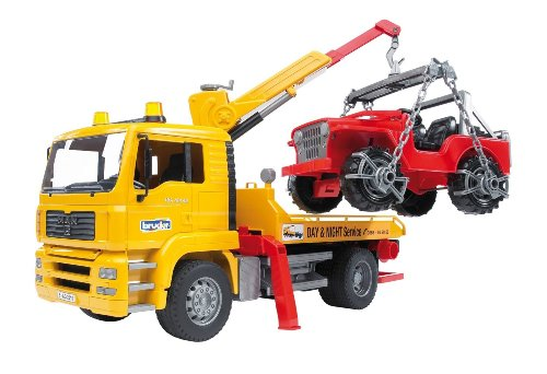 Bruder Man Tga Tow Truck With Cross Country Vehicle - Cross Country Vehicle