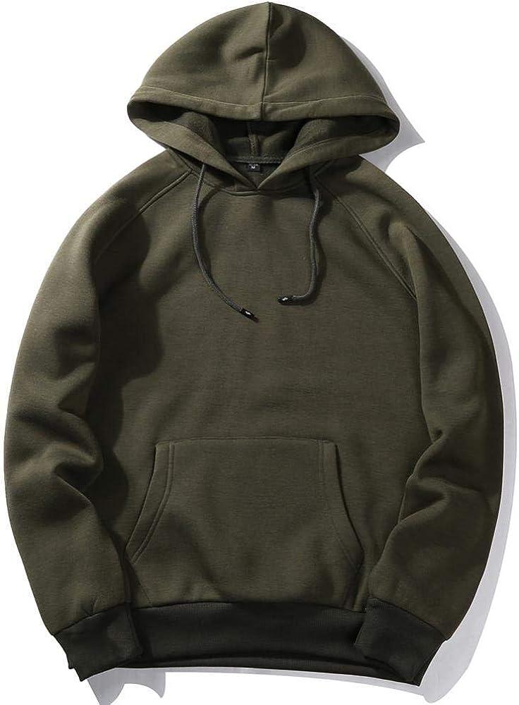 DaTANG Fleece Hoodies Men Sweatshirt Solid White Color Hip Hop Streetwear Hoody-Black WY18/_XXL
