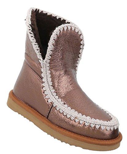 Damen Schuhe Stiefeletten Warm Gefütterte Boots Bronze