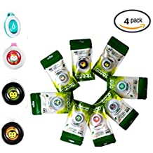Mosquito Repellent Natural Citronella Button Clip Type,Outdoor & Indoor for Adults & Kids Bug Insect Protection for up to 3 mouth & DEET-FREE Resealable Individual Zip Pack(Pack of 4)