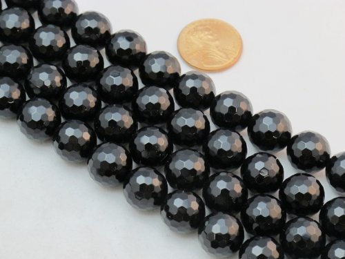 Bead Onyx Faceted - BRCbeads Black Onyx 12mm Faceted Beads Round 15.5'' Per Strand