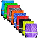 Cheap 10 Colors Reflective Strip Drawstring Backpack Bags Sack Pack Cinch Tote Kids Adults Storage Fabric Polyester Bag for Sport Gym Traveling