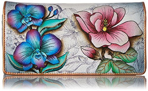 Wallet Handcrafted Cow Leather - Anuschka Women's Hand Painted Accordion Flap Wallet | Genuine Leather | Floral Fantasy