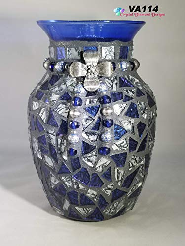 Blue and Silver Van gogh Glass Tile Vase Mosaic Handmade by the Artist ()