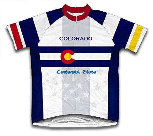 Colorado Flag Short Sleeve Cycling Jersey for Men - Size (Colorado Cycling Jersey)