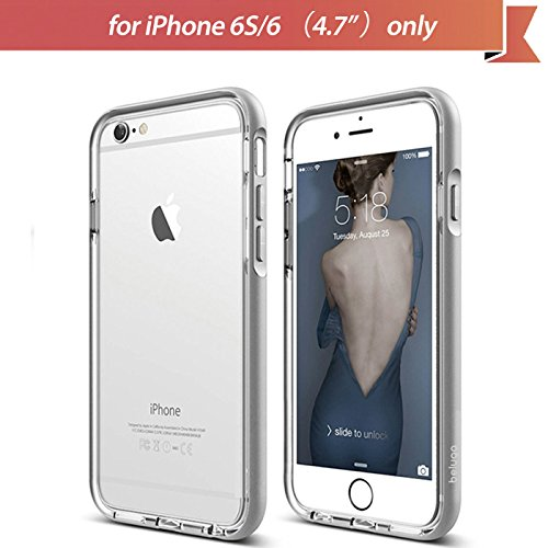 Apple iPhone 6S/6 (4.7inch) Case, Beluga® Fusion Dual Layer Protective Case[Arctic Silver][100% Compatible with Full Screen Edge to Edge Tempered Glass Screen Protector] (Aluminum Bumper + Premium Clear TPU Case) Hybrid Case Cover, Shock Absorbent, Ultra Slim, Anti Scratch, Transparent, Dual Layer [Arctic Silver]