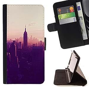 """For HTC One A9,S-type Empire State Building de Nueva York Ver"""" - Dibujo PU billetera de cuero Funda Case Caso de la piel de la bolsa protectora"""