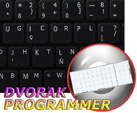 14X14 RED White Orange Dvorak Programmer Keyboard Labels Layout ON Transparent Background with Blue White OR Yellow Lettering