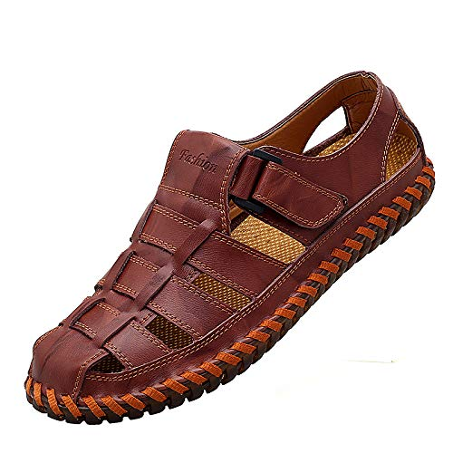 Qiucdzi Mens Sport Sandals Breathable Outdoor Fisherman Shoes Adjustable Closed Toe Summer Leather Loafters (12 M US, Maroon)