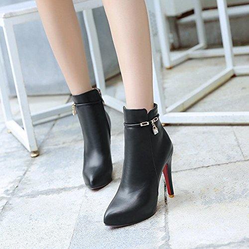 YE Damen Ankle Boots Spitze Stielfeletten Stiletto High Heels Plateau mit Reißverschluss und Strass 11cm Absatz Elegant Schuhe Schwarz