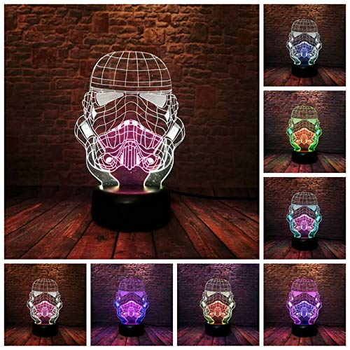 LyZim Stormtroopers Helmet Model 3D Illusion Night Led Colourful Mixed Soldier Mask Model Toys -Multicolor Complete Series Merchandise (Imperial Soldier Mask)