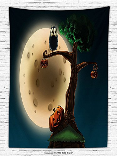 Halloween Decorations Fleece Throw Blanket Cute Cartoon of Spooky Halloween Tree with Large Eyed Owl and Pumpkin Decor Picture Throw Blanket for es Multi