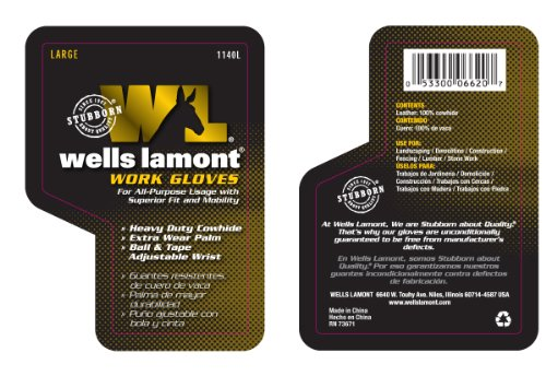 Wells Lamont 1140l Work Gloves With Timber Grain Cowhide