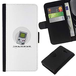 NEECELL GIFT forCITY // Billetera de cuero Caso Cubierta de protección Carcasa / Leather Wallet Case for Sony Xperia M2 // Vivo mi vida poco a gameboy Bit