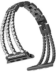 38 mm 40 mm rostfritt stål smycken IWatch rem för serie 6, 5, 4, 3, 2, 1 kvinnor justerbar kristall diamant armband ersättning Iwatch-band
