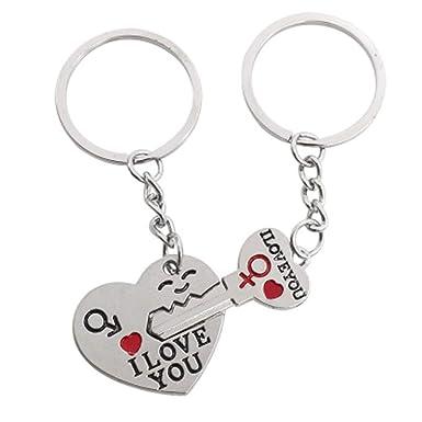 Amazon.com: Love Key To My Heart - Llavero con colgante de ...