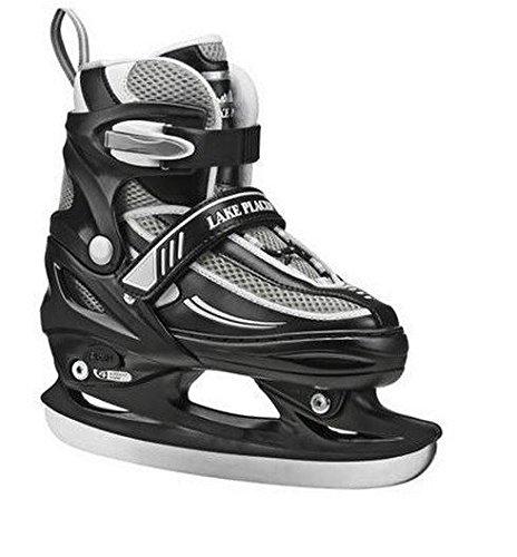 Lake Placid Summit Boys Adjustable Ice Skate, Black/White, Large/5-8