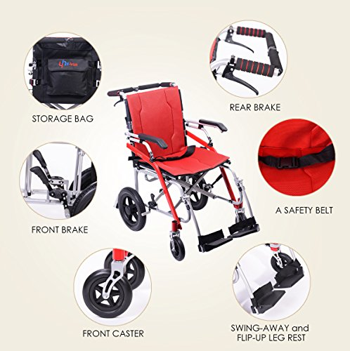 Hi-Fortune 21 lbs Lightweight Transport Medical Wheelchair with Adjustable Armrests and Hand Brakes, Portable and Folding with Magnesium Alloy, 18'' Seat, Red by Hi-Fortune (Image #3)