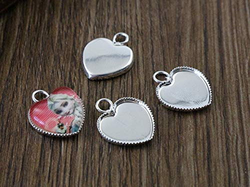 Laliva 20pcs 12mm Inner Size Bright Silver Plated Brass Material Heart Style Cabochon Base Cameo Setting Charms Pendant Tray (A2-29) (12 Mm Heart Pendant)