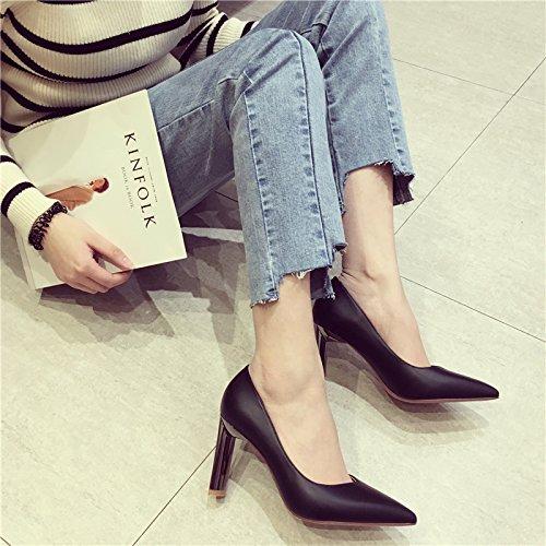 nero Wild scarpe il Comfort tacco 36 moda Con Court alto scarpe Elegante luce semplice punta 8cm a Ajunr grassetto 37 alla donna Party C65fWx