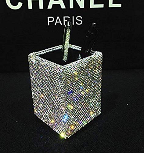 TISHAA Bling Bling Decorative Pencil and Pen Organizer Holder (White Crystal)