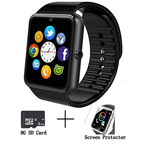 GT08 Bluetooth Smart Watch for Android phonessmart watch with SIM Card Slot,Call,Massage,For IOS iphone and Android phones Samsung ZTE Sony LG Smartphones, Sweatproof (black)