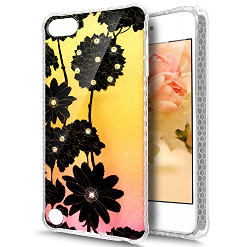 Price comparison product image iPod Touch 6 Case,iPod Touch 5 Case,ikasus Crystal Shiny Sparkly Bling Diamond Art Painted Soft Flexible TPU Rubber Silicone Skin Cover Clear Case for iPod Touch 6 / 5,Black Daisy chrysanthemum