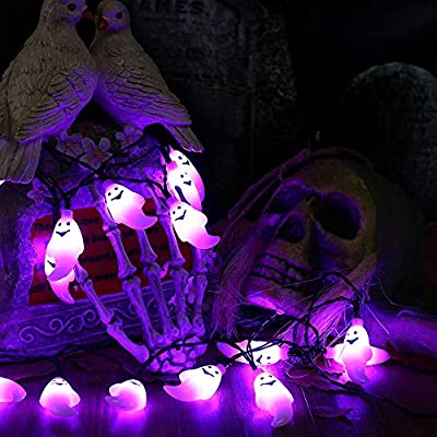 Joomer Halloween Ghost String Lights, 10.5Ft 30 LED Battery Operated Halloween Lights (Battery Included), 2 Modes Flash/Steady On Ghost Lights for Halloween Decorations (Purple) : Garden & Outdoor