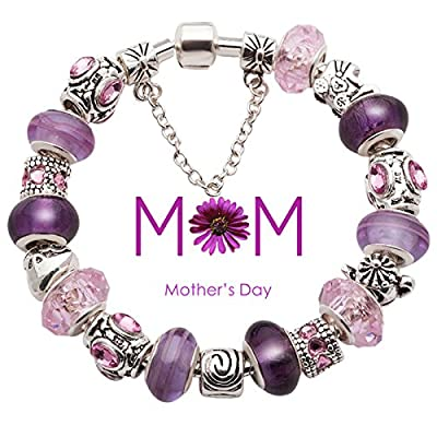 Mothers Day Gifts Silver Plated Purple Murano Glass Beads Complete Full Charms Beaded Bracelets Compatible with Pandora Style Jewelry